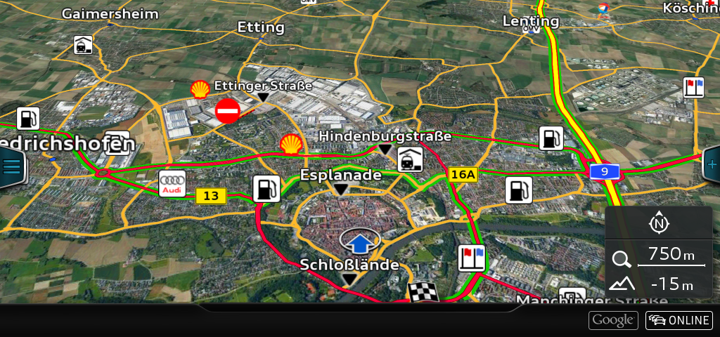 Audi connect - Google Earth and Traffic online